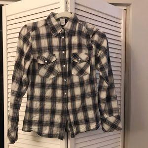 Women's plaid button-down blouse